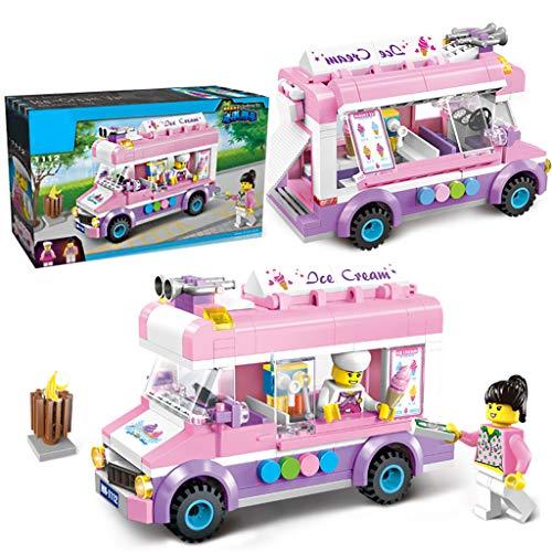 Siyushop Camion de crème glacée City, Camion de crème glacée Mobile, Bloc de Construction, Camion de crème glacée, 2 Personnages, Kit de Construction (213 pièces)