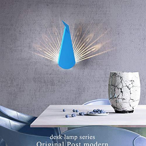 LIN HE SHOP Peacock Mur LED Lampe Fer De Chevet Mur Lumière 14 × 36 CM pour Chambre Balcon Allée Escaliers Villa Décoration Murale Café Vêtements Magasin (Couleur : Bleu)