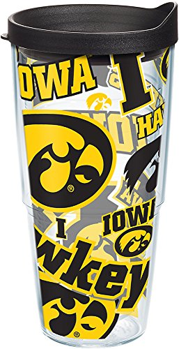Tervis NCAA Iowa Hawkeyes All Over Tumbler with Lid, 24 oz, Clear