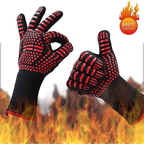 IZSUZEE Guantes de Barbacoa,Guantes para Horno,Guantes de Cocina 1472°F/800°C,Accesorios Barbacoa Parrilla Barbacoa Plato Pizza Chimeneas Olla Horno(Rojo).