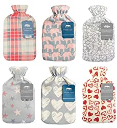 BRITISH DESIGH SOFT FLEECE COVER HOT WATER BOTTLE - made with natural rubber PLEASE NOTE A HOT WATER BOTTLE WILL BE PICKED AT RANDOM FROM THE DESIGNS SHOWN PERFECT TO KEEP YOU HOT IN THIS WINTER OR TO HELP WITH BACK ACKES AND CRAMPS GREAT STOCKING FI...