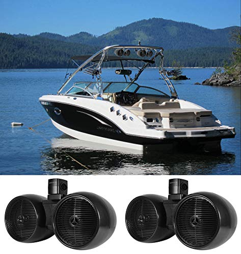 2) Rockville DWB80B Dual 8' Black 1600w Marine Wakeboard Tower Speaker Systems