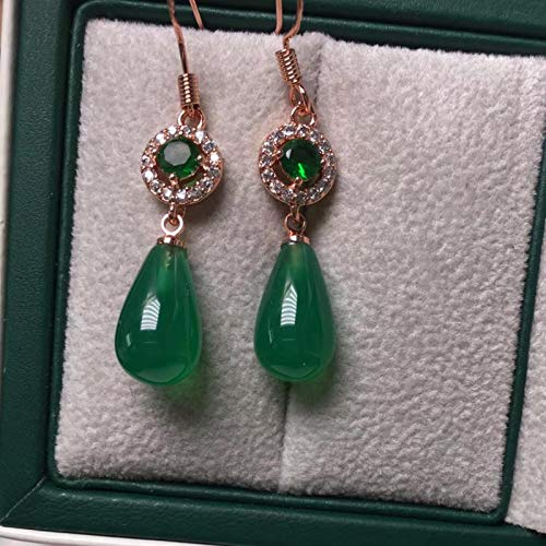 SALAN Pendientes De Gota De Agua De Jade Verde Natural para Mujer Cz Esmeralda Piedra Preciosa 925 Pendiente De Plata Esterlina Joyería Fina