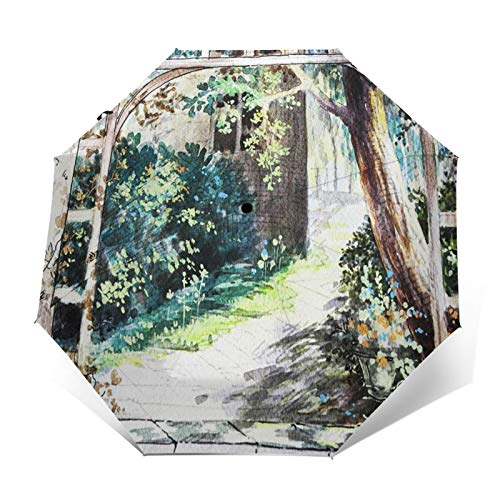 Paraguas Plegable Automático Impermeable Ventana con Vista de pérgola, Paraguas De Viaje Compacto A Prueba De Viento, Folding Umbrella, Dosel Reforzado, Mango Ergonómico