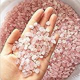 WAYBER 1 Lb/460g Natural Pink Quartz Crystal Stones Irregular Aquarium Pebbles Rock Sands for Turtle Tank/Succulent Plants/Vase Decoration (Fill 1 Cup)