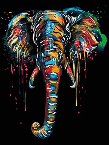 WOWDECOR Kit de pintura por números para adultos y niños, pintura al óleo – Elefante animales 40,6 x 50,8 cm