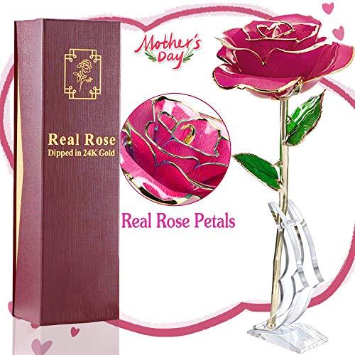 Rosa de Oro 24k, Rosa Eterna Flores Chapadas en Oro con Caja de Regalo