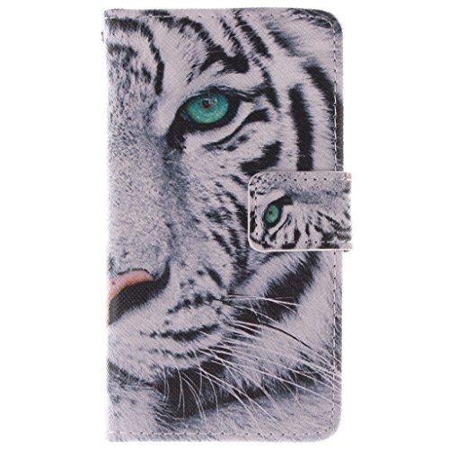 Nokia Lumia 630 635 Hülle, SATURCASE PU Leder Flip Brieftasche Standfunktion Kartenschlitze Tasche Hülle Schutzhülle Handycover für Nokia Lumia 630 635 (Cool Tiger)