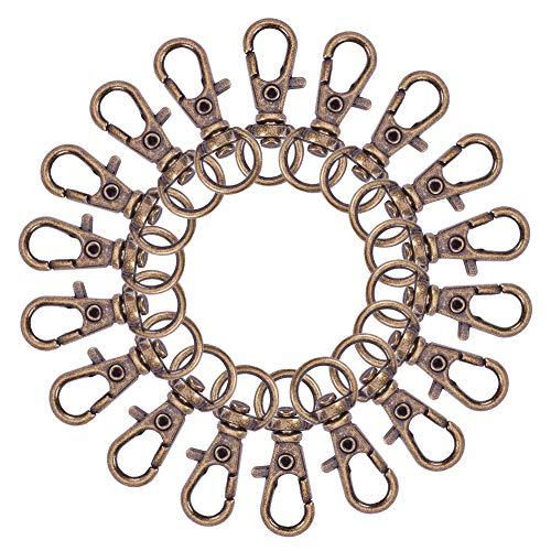 PandaHall Elite - Juego de 100 cierres giratorios de aleación para llaves, suministros para joyería, bronce antiguo, 32,5 x 11 x 6 mm, agujero: 9 x 5 mm