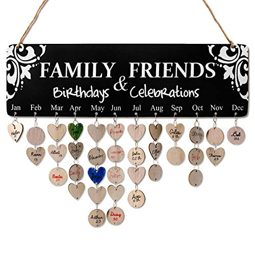 Family Birthday Anniversary Reminder Tracker - DIY Wood Calendar Board w/100 Tags, Unique Gifts for Moms / Dad / Grandma / Grandpa - Best Way to Show How Much You Love Her