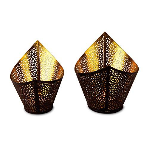 ROMINOX Geschenkartikel Teelichthalter mit Goldfolienauskleidung, Weihnachten, Grillparty, Valentinstag, Muttertag (Venezia (2er Set))