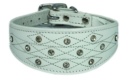 4doggies Collier en cuir pour chien lévrier italien Motif imitation diamants/couture apparente Blanc 25-30 cm