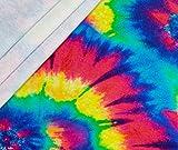 0,5m French Terry Batik Regenbogen - neon ÖkoTex