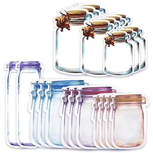 Gxhong 22 Piezas Bolsa de Botella Mason, Bolsas Zipper para bocadillos y Bolsas herméticas Reutilizables Bolsas de Almacenamiento de Alimentos Bolsas de Ahorro de Alimentos a Prueba de Fugas