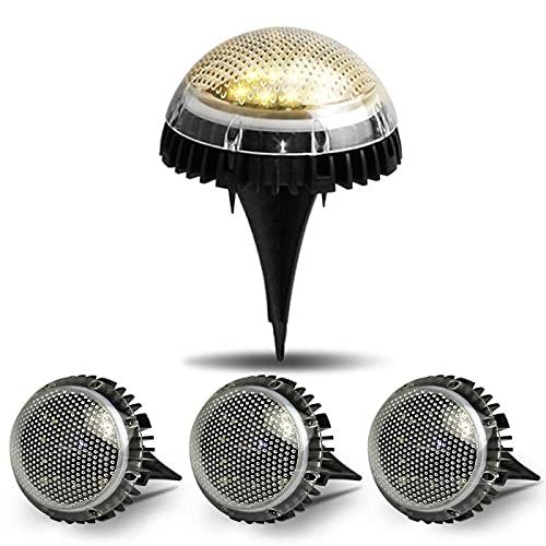 4 piezas 8-LED de energía solar enterrada luz bajo la lámpara de tierra impermeable al aire libre camino camino jardín Decking lámpara de césped luz nocturna Dropship-4pcs Color_1_0.2W