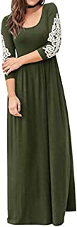 Vibola Dress for Women, Boho Long Dress 3/4 Sleeve High Waist Maxi Dresses