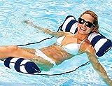 Huibao Inflatable Pool Float, Water Hammock Float Pool Lounge Chair Summer Beach Swimming Air Mattress with a Manual Air Pump (Dark Blue)