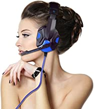 ajzdnzvr Controller Stereo Gaming Headset, 3.5mm Wired Noise Isolation Volume Control Over Ear Headphones with Mic, LED Light, Bass Surround Headphone for Laptop Mac,PS4, PC, Xbox