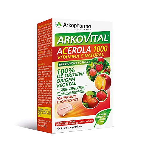 Arkopharma Arkovital Acerola 1000 30 Comprimidos |Refuerzo del Sistema Inmune | Vitaminas Naturales de Mayor Absorción | Vitamina C 100% Natural