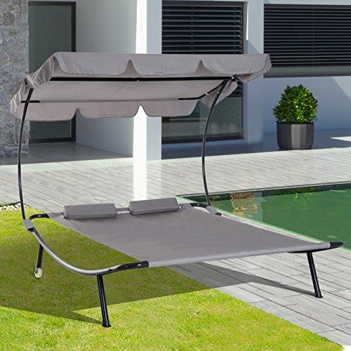 Outsunny Doppelliege Sonnenliege Relaxliege rollbar mit Dach Stahl Grau 200 x 173 x 155cm - 2