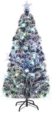 Albero di Natale Artificiale, Albero di Natale Slim da 180 cm in Fibra di vetro+acciaio con 220 rami flessibili con LED in 7