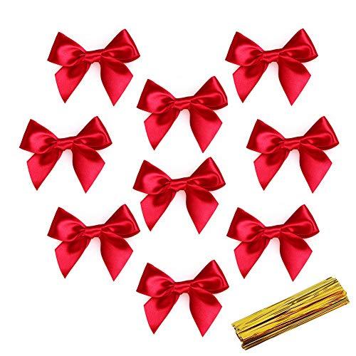 ROBAKO Weihnachtsschleife - 50 Stück Christbaumschmuck/Girlandendekoration/Weihnachtsgeschenkbeutel Dekoration, 8 x 7,5 cm Rote Schleife + 100 Stück Goldener Kabelbinder