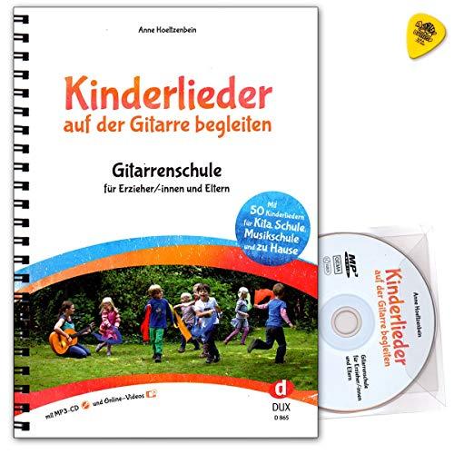 Kinderliedjes op de gitaar begeleiden - gitaarschool voor opvoeders/ouders - met 50 bekende en nieuwe kinderliedjes - noten met CD, online video's, Dunlop Plek