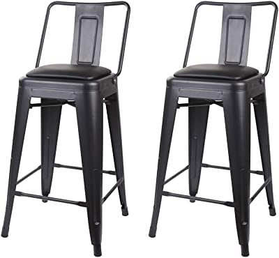 GIA Middle Back 24-Inch Counter-Height Metal Stool, 2-Pack, Black/Black Faux Leather Seat