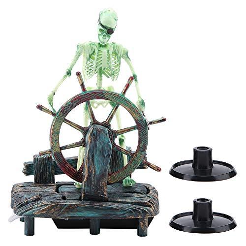 Decoración del Acuario, Acuario plástico Paisaje Pirata capitán Esqueleto Ornamento pecera Material de Resina hipocampo Adornos para Agua Dulce Acuario de Agua Salada