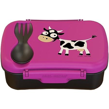 Carl Oscar Nice Box Kids - Bento Box Brotzeitdose Lunchbox mit Kühlakku hält mehrere Stunden kühl, 17 cm x 12,5 cm x 6,3 cm in Pink