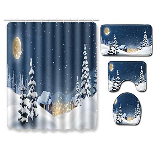 KEAINIDENI toiletmat T Kerstmis badmatten Badkamer douchegordijn Set 4 Stuks Badmat Set Niet Slip Tapijt voor Badkamer Toilet Mat Tapijten S Q19