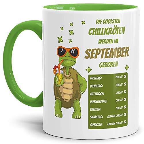 Tassendruck Geburtstags-Tasse Die Coolsten Chillkröten Werden im September Geboren Innen & Henkel Hellgrün - Mug/Cup/Becher/Lustig/Witzig/Geschenk-Idee