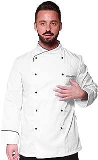 TCD Ricamo Gratuito Giacca Casacca da Chef Cuoco Manica Corta Nera con Profili Bianchi