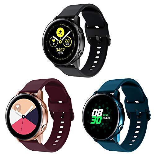 YPSNH Compatible para Samsung Galaxy Active Correa Suave Silicona Reemplazo Active 2 Pulseras de Repuesto 20mm Banda Compatible con Galaxy Watch 3 41mm/Galaxy Watch 42mm/Gear Sport/Vivoactive