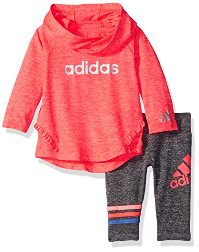Adidas Baby Girls' NEON Melange Hooded Set,Bright Red,6 m
