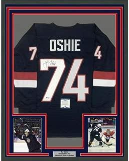 Framed Autographed Signed Tj T.J. Oshie 33X42 United States Blue Jersey (Size XL) BAS COA