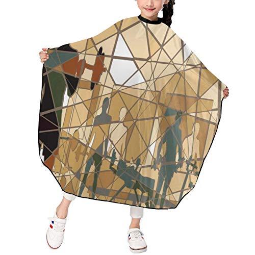 Pag Crane Fitness Mosaic Exercising Gym Barbells Gewichtheben Kinderhaar Friseur Cape für Kinder Haarschnitt Friseur Schürze Stoff Styling Tool