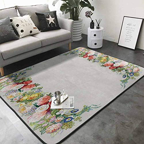Long Kitchen Mat Bath Carpet Rose Garland Pastel Tones Jasmine Cornflower Bouquet Classic Bloom Graphic 64'x 96' Natural Fiber Area Rug