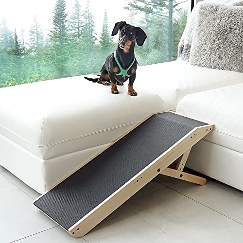 DoggoRamps - Couch Ramp for Dogs - Solid Hardwood - Adjustable Height with Mini Platform Top & Anti-Slip Grip - 5 Colors Options