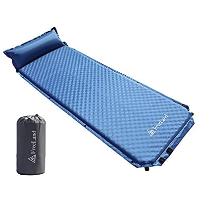 FreeLand Camping Sleeping Pad Self Inflating with Attached Pillow, Compact, Lightweight, Large, Light Blue Color