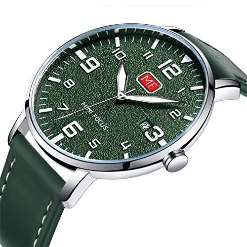 MINI FOCUS Herrenuhren Sport Sun Pattern Dial Design Lederband Quarz wasserdicht Klassische Armbanduhr Herren,Grün