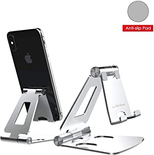 Desktop Cell Phone Stand [Updated Solid Version], Advanced 4mm Thickness Aluminum Stand Holder for Switch, Mobile Phone, iPhone 11 Pro Xs Max Xr (Silver)