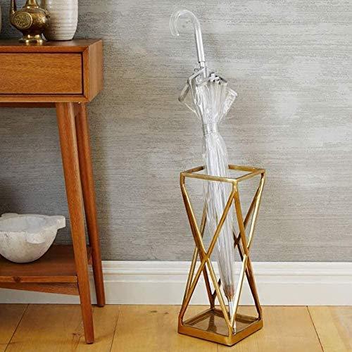 Entree gebied Vrijstaande paraplu houder gemaakt van goud metaal Stand voor lange paraplu wandelstokken wandelstokken - Home office voordeur decor (kleur: goud)