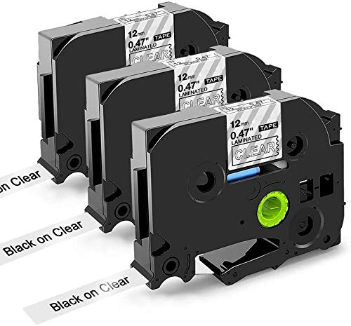 Nastri Oozmas Compatibile In sostituzione di Brother TZe Tape 12mm 0.47 TZe-131, 12mm x 8m, Compatibile Brother P-touch PT-H100R PT-1005 PT-1010 PT-2030, (Nero su Trasparente, confezione da 3)