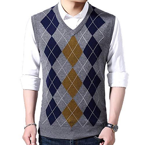 HEQU Men's Argyle V-Neck Sweater Casual Vest V-Neck Golf Sweater Vest(L Gray)