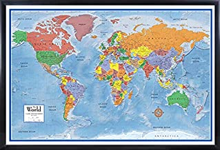 national geographic framed world map
