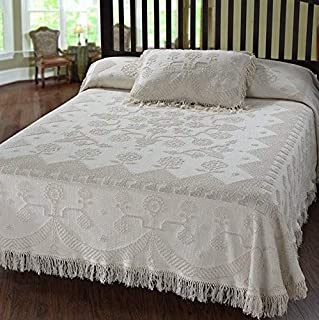 Martha Washington's Choice Bedspread - Queen - Antique - with String Fringe