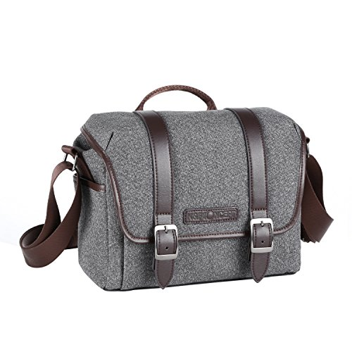 K&F Concept Portable Waterproof Camera Gadget DSLR Shoulder/Messenger Bag Unisex Small Size Grey For Sony Canon Nikon