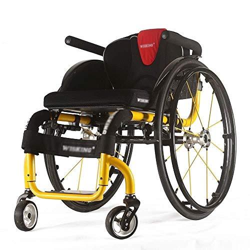 Wheelchair Sport Rollstuhl, ergonomisches Design Licht Falte Super Light Magnesium-Legierung mit Partial-Carbon-Faser bequemem Rücken mit Selbstantrieb Rollstuhl (Color : Yellow)