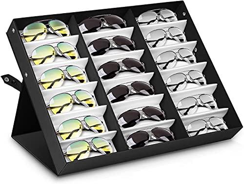 amzdeal Sunglasses Display Case 18 Slot Sunglass Eyewear Display Storage...
